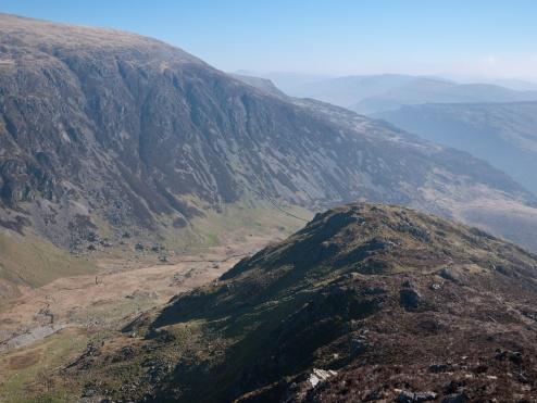 The bulk of Mynydd Moel across Cwm Cau
