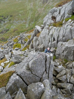 Scrambling high on Bera Mawr