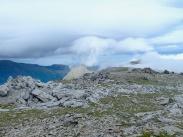 Glyder Fawr summit plateau with Tryfan centre of shot