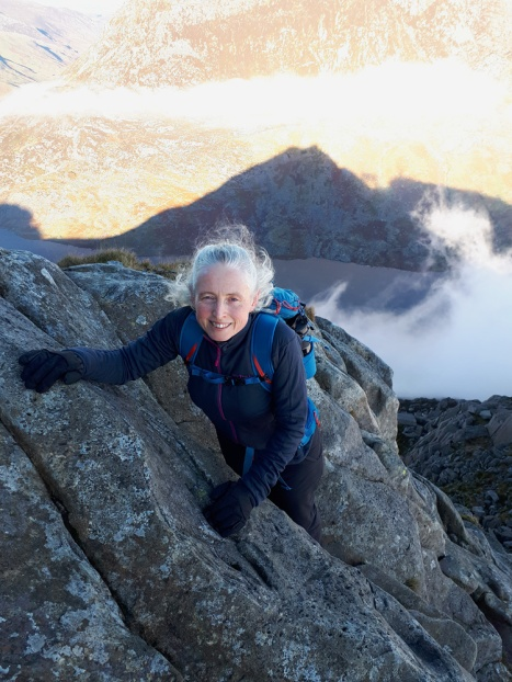 Scrambling high on Tryfan's north ridge